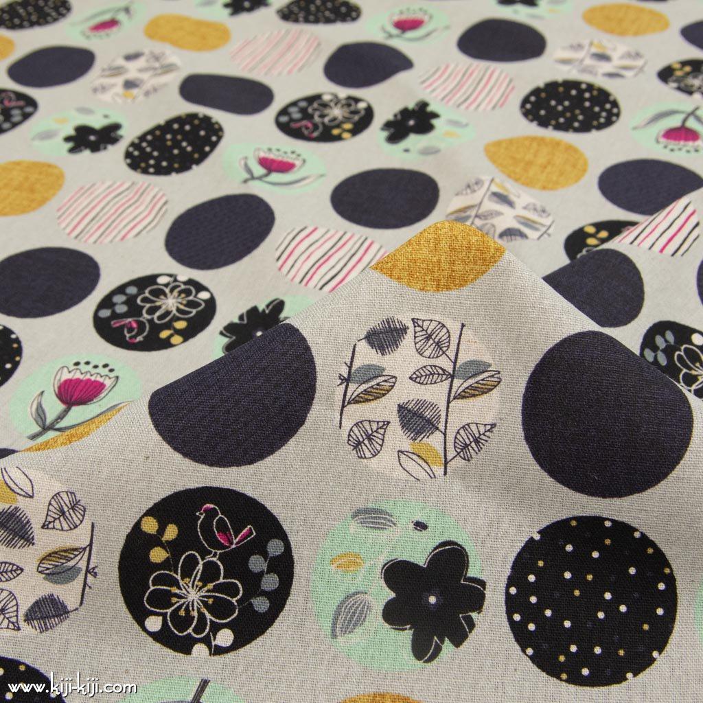 【cotton linen】natural polkadot|ナチュラルポルカドット|北欧風デザイン|花柄生地|コットンリネンキャンバス|ライトグレー|