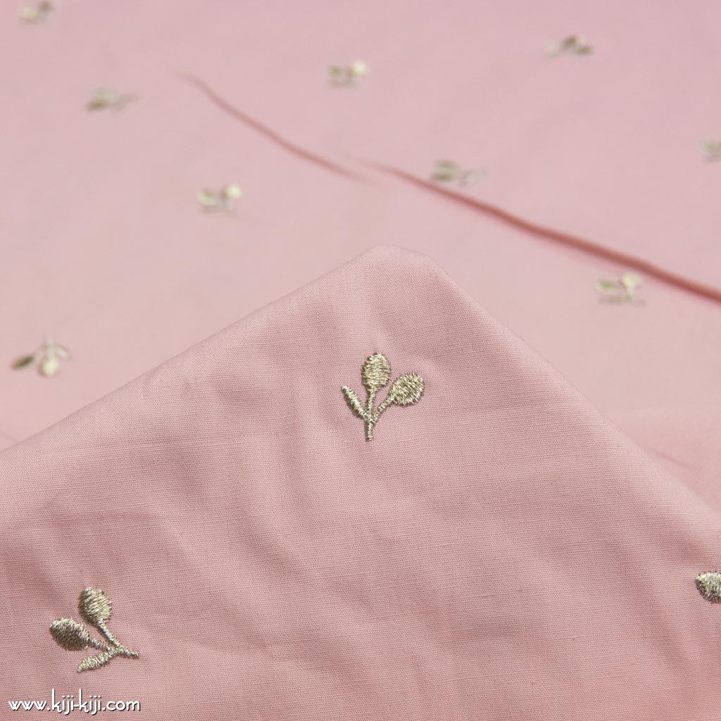 【刺繍】【cotton】スモークカラーのチェリー刺繍|ブロード刺繍|ピンク|