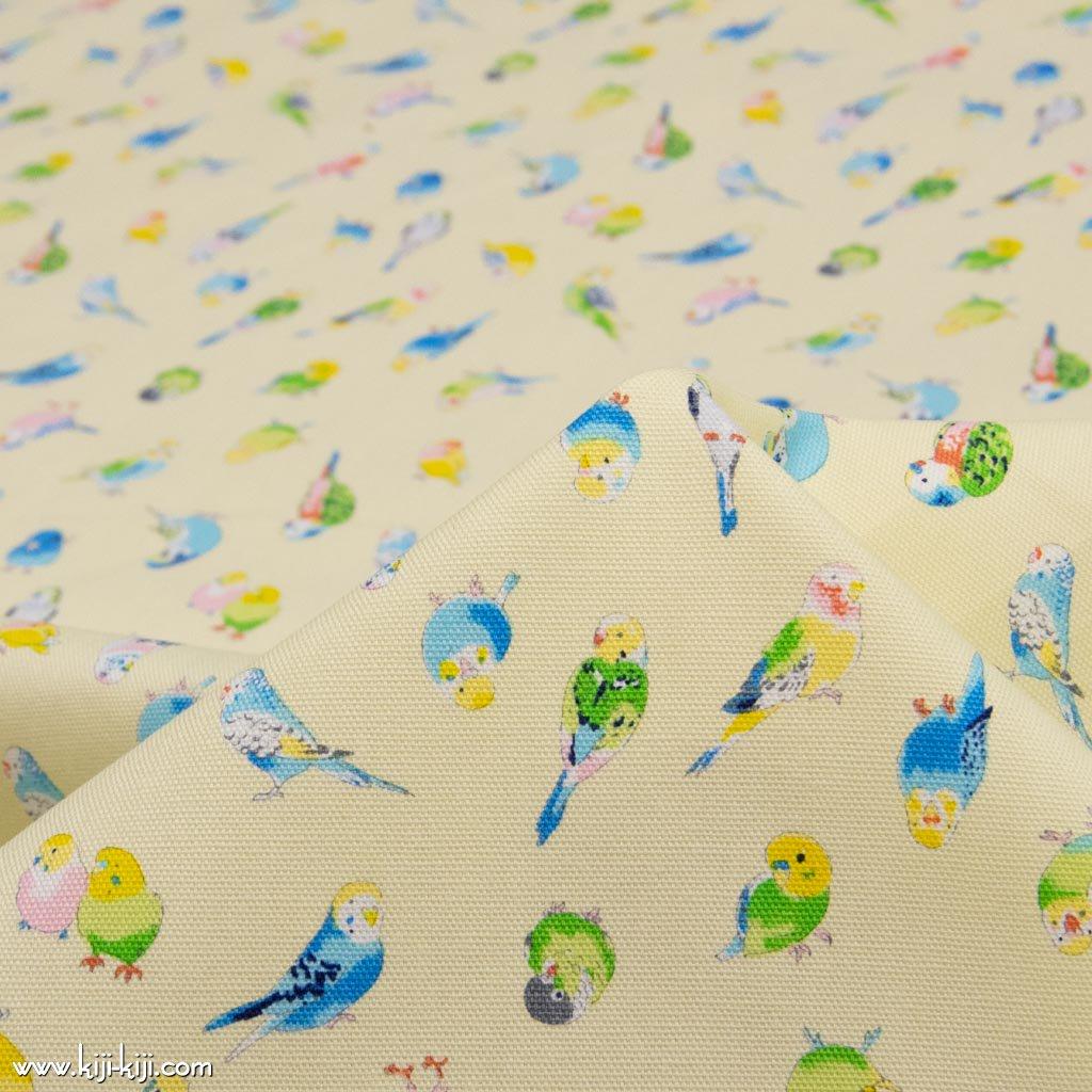 【cotton】pastel bird|パステルバード|インコ柄|鳥柄|コットンオックス|イエロー|