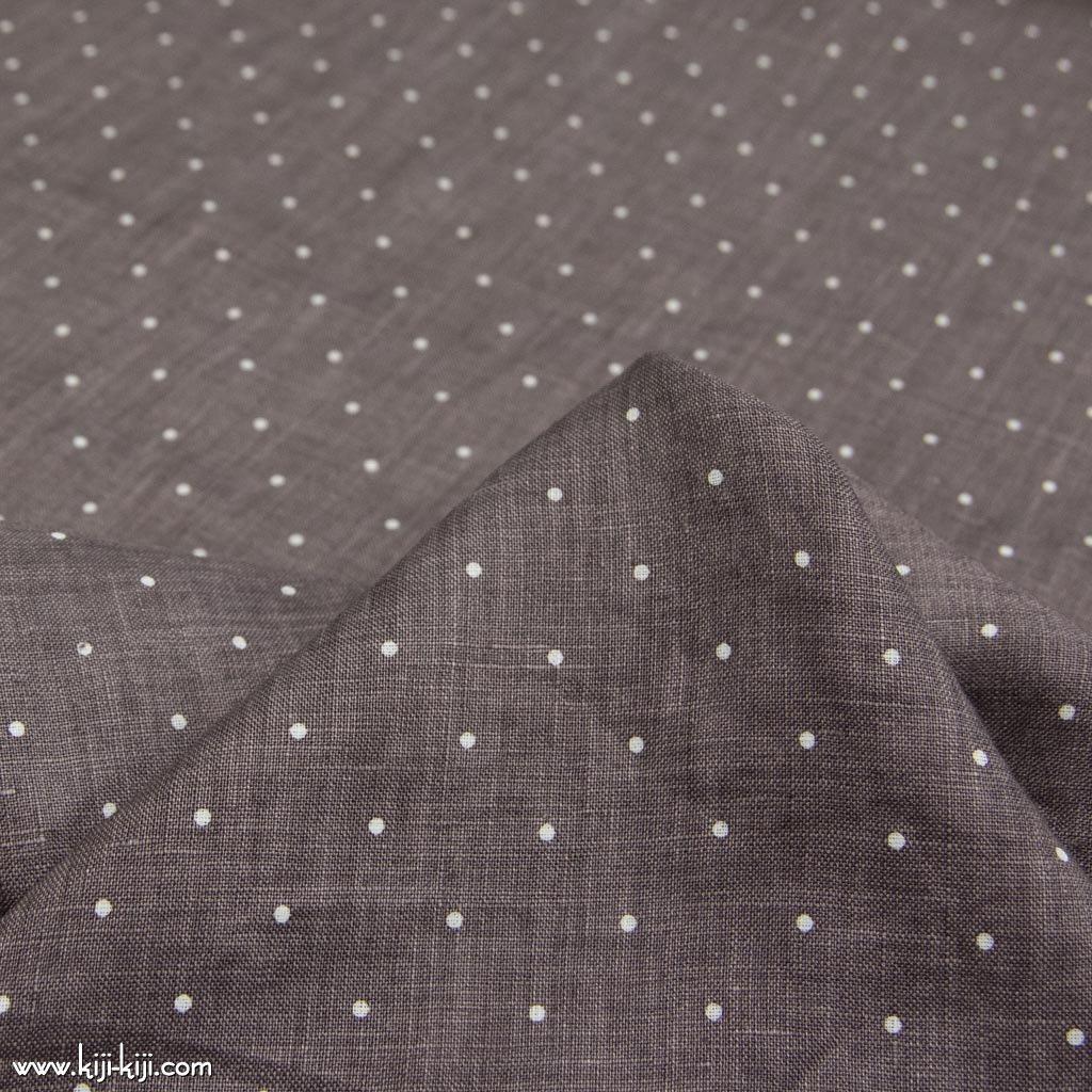 【linen】60linen 3mmdot|60リネン3mmドット|リネン生地|グレーブラウン|