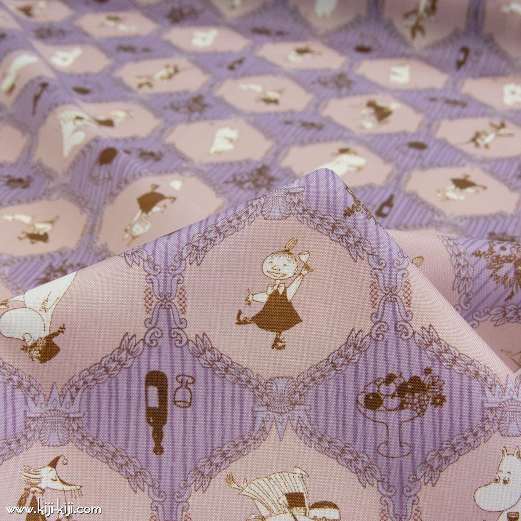 【ナイロンオックス】Moomin fabrics|ムーミン|コットンオックス|パープル×スモークピンク|