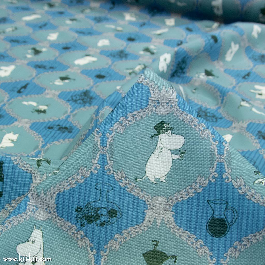 【ナイロンオックス】Moomin fabrics|ムーミン|コットンオックス|スモークグリーン×ブルー|