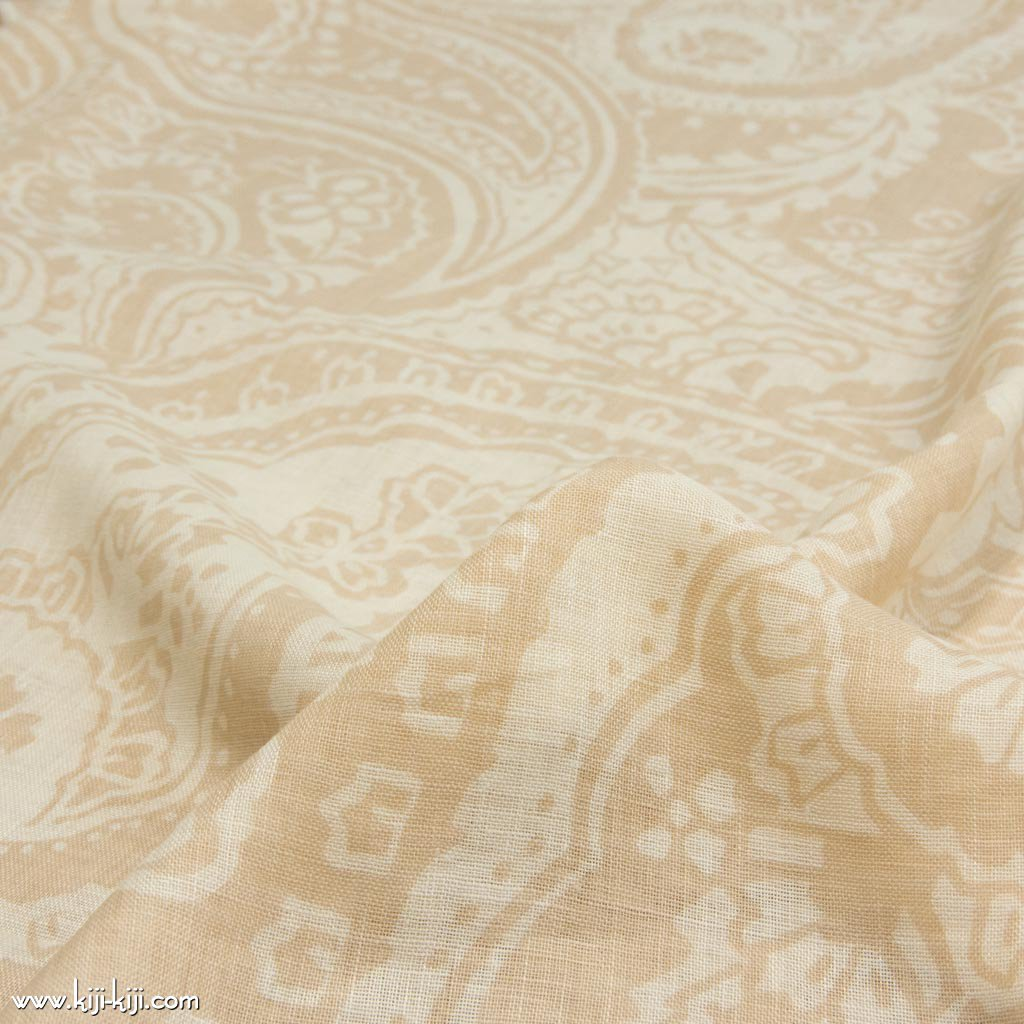 【sale】Paisley Linen Gauze|ペイズリーデザイン|リネンシングルガーゼ|リネン生地|ベージュ|<img class='new_mark_img2' src='https://img.shop-pro.jp/img/new/icons20.gif' style='border:none;display:inline;margin:0px;padding:0px;width:auto;' />