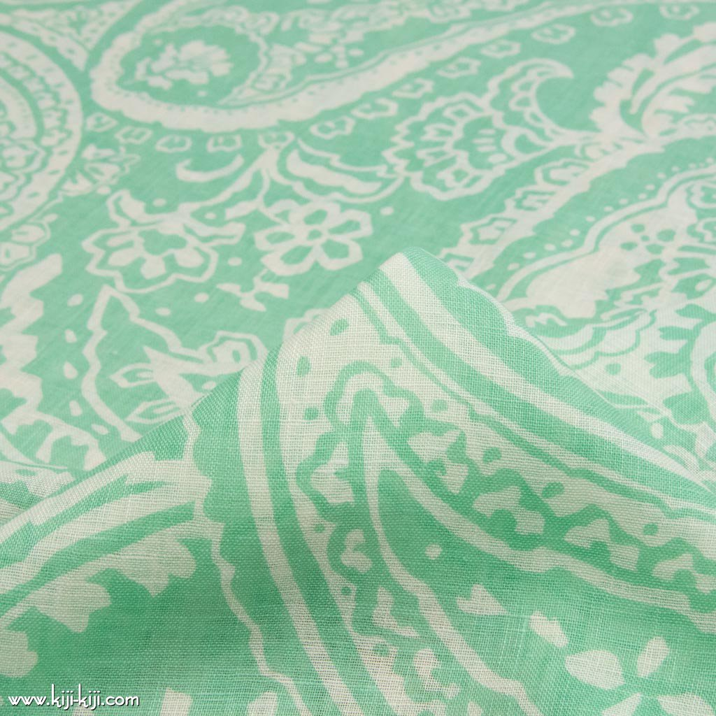 【sale】Paisley Linen Gauze|ペイズリーデザイン|リネンシングルガーゼ|リネン生地|ミント|<img class='new_mark_img2' src='https://img.shop-pro.jp/img/new/icons20.gif' style='border:none;display:inline;margin:0px;padding:0px;width:auto;' />