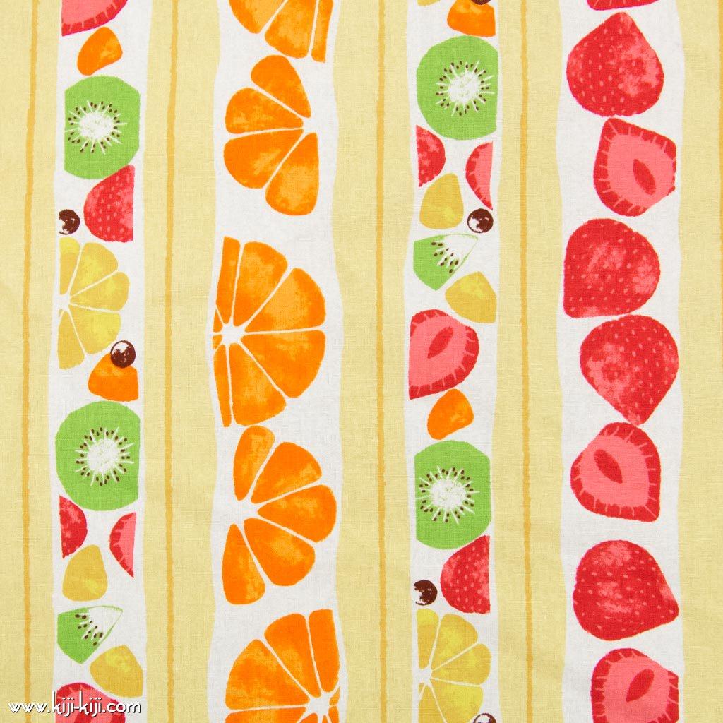 【cotton】フルーツサンド|FRUITSsand|コットンシーチング|イチゴ柄|フルーツ柄|ライトイエロー|