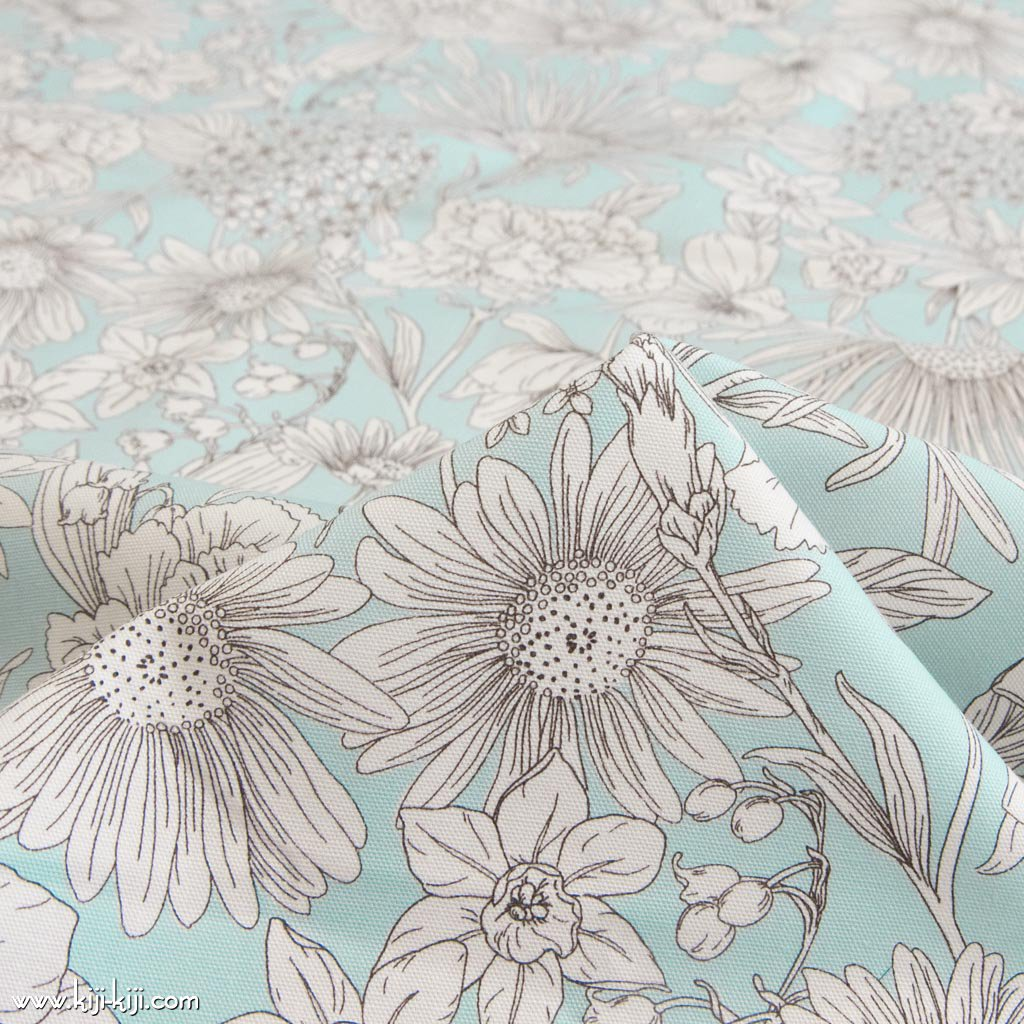 【cotton】white flowers ホワイトフラワー コットンオックス 花柄生地 アクア <img class='new_mark_img2' src='https://img.shop-pro.jp/img/new/icons5.gif' style='border:none;display:inline;margin:0px;padding:0px;width:auto;' />