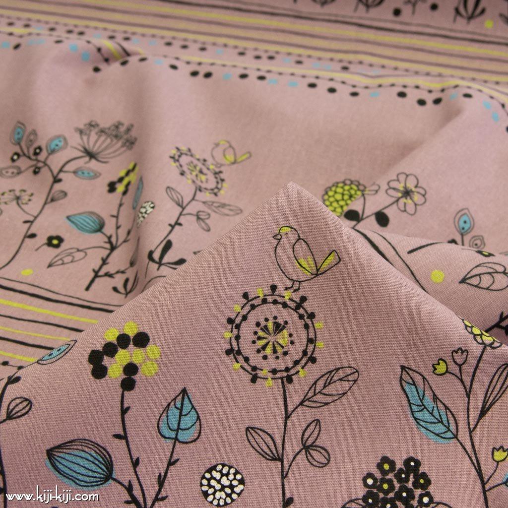 【cotton linen】Bird&flower|バード&フラワー|コットンリネンキャンバス|スモークピンク|
