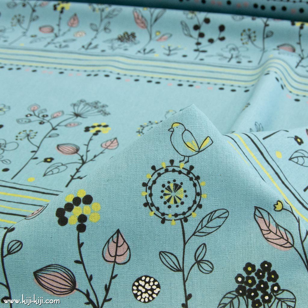 【cotton linen】Bird&flower|バード&フラワー|コットンリネンキャンバス|スモークブルー|