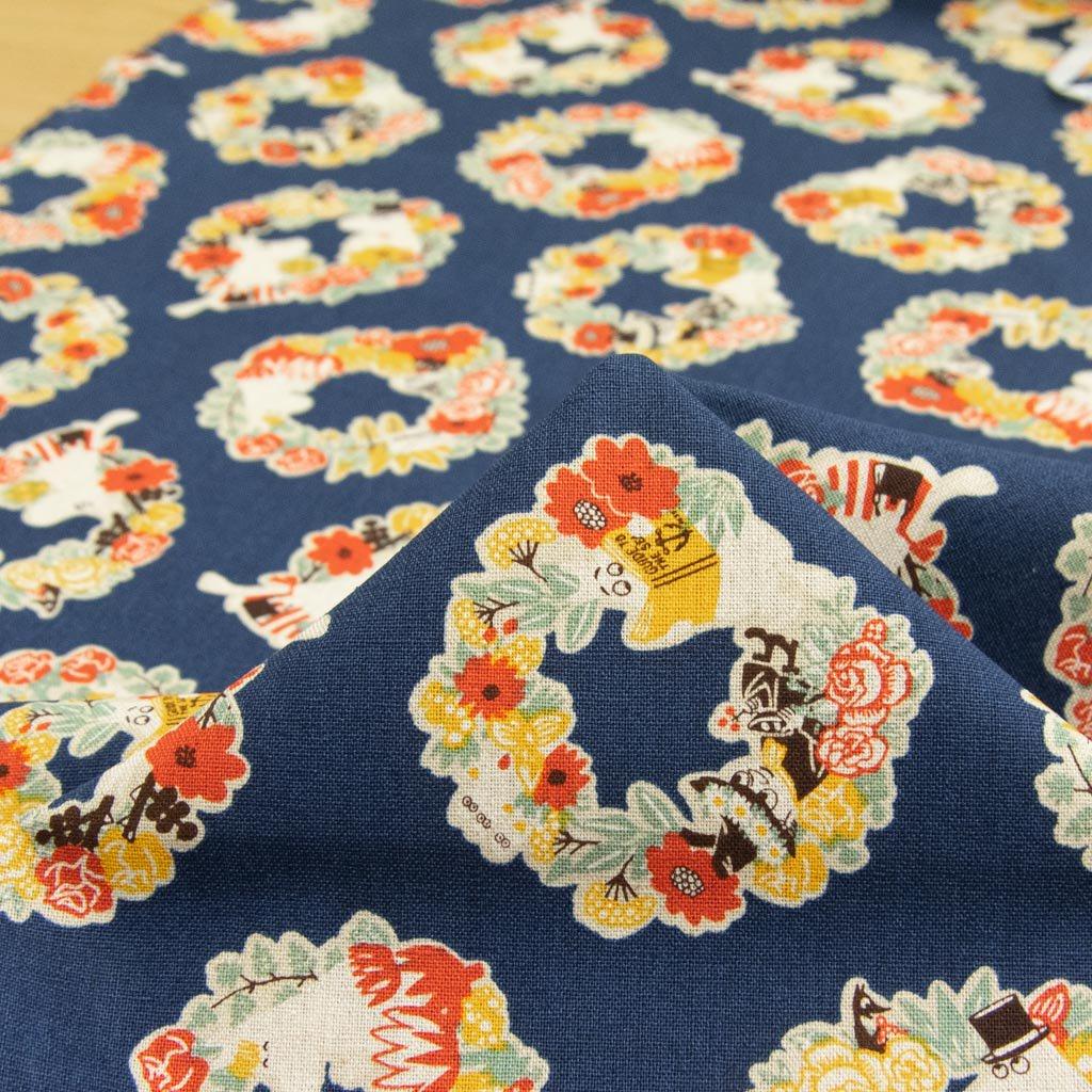 【cotton linen】Moomin fabrics|ムーミン|コットンリネンキャンバス|ネイビー|