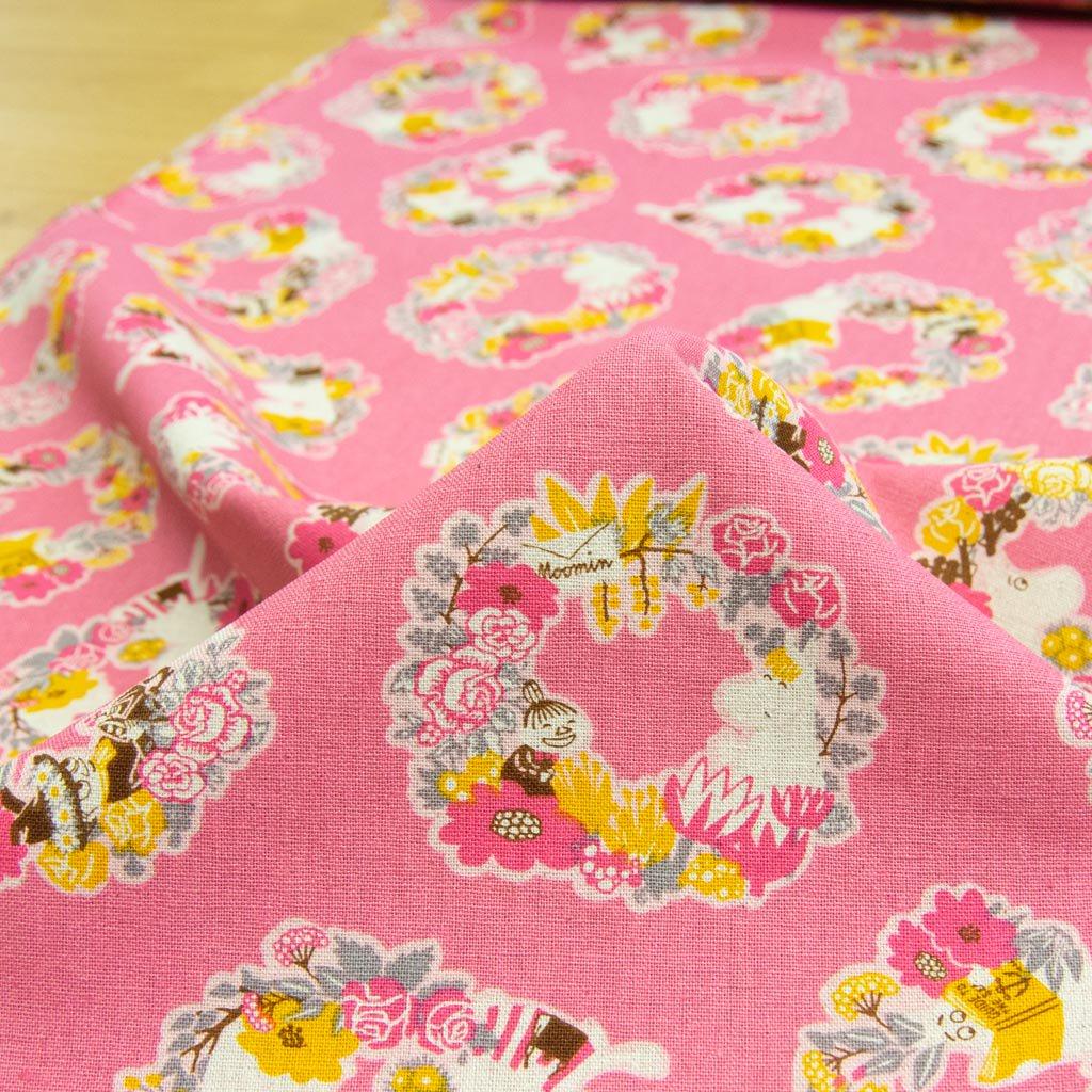 【cotton linen】Moomin fabrics|ムーミン|コットンリネンキャンバス|ピンク|