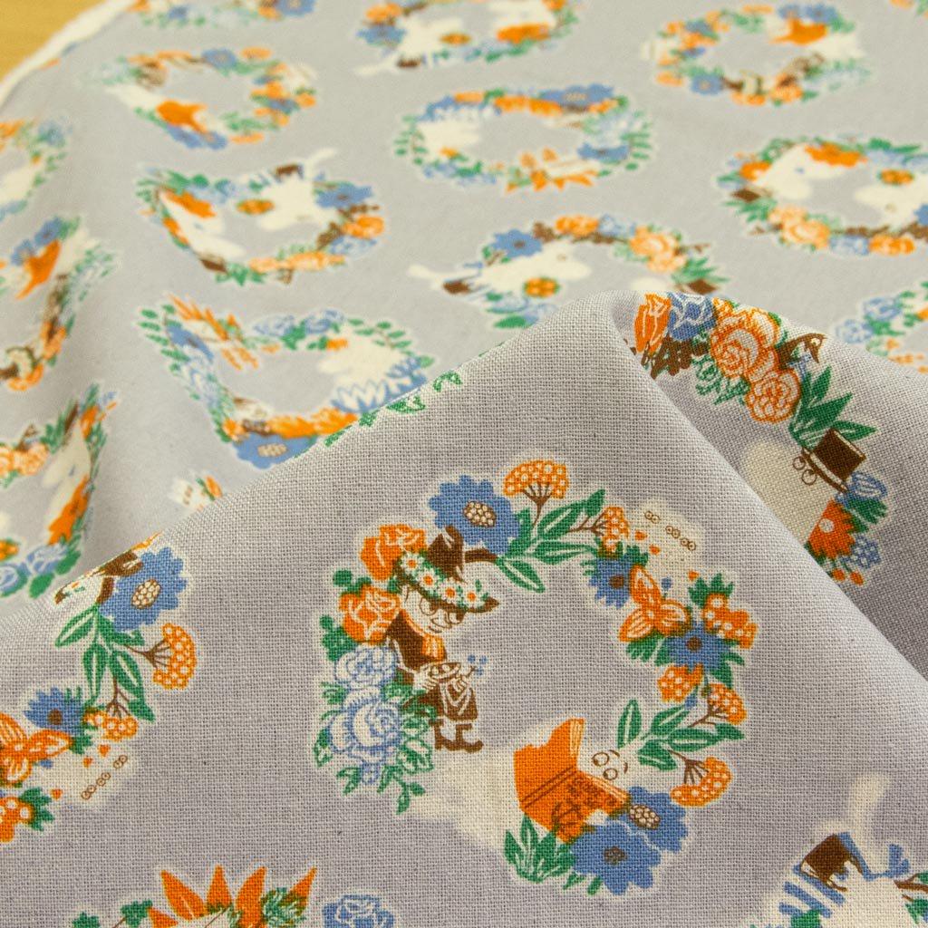 【cotton linen】Moomin fabrics|ムーミン|コットンリネンキャンバス|グレー|