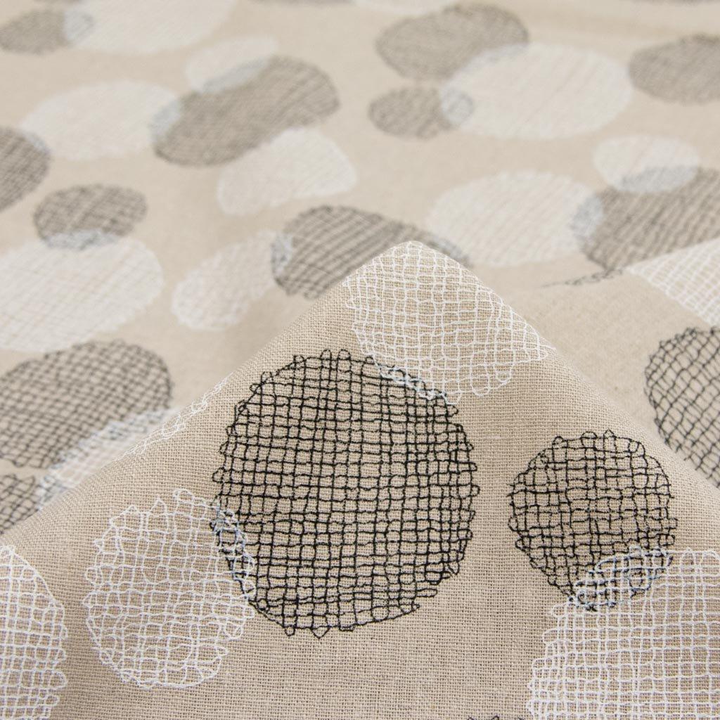 【cotton linen】dot lace print harf linen|ドット刺繍柄プリント|ハーフリネン|ライトキャンバス|ホワイトブラック|