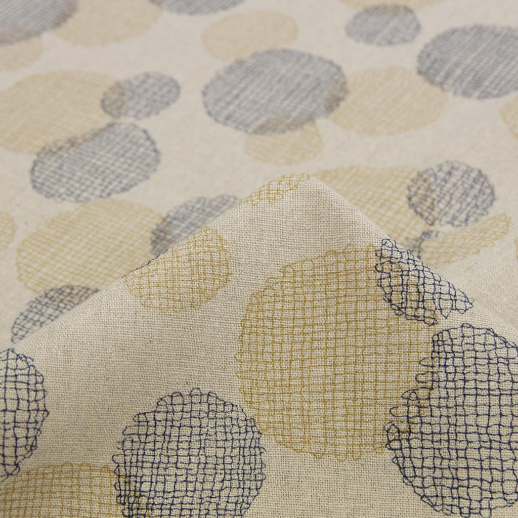 【cotton linen】dot lace print harf linen|ドット刺繍柄プリント|ハーフリネン|ライトキャンバス|ネイビーベージュ|