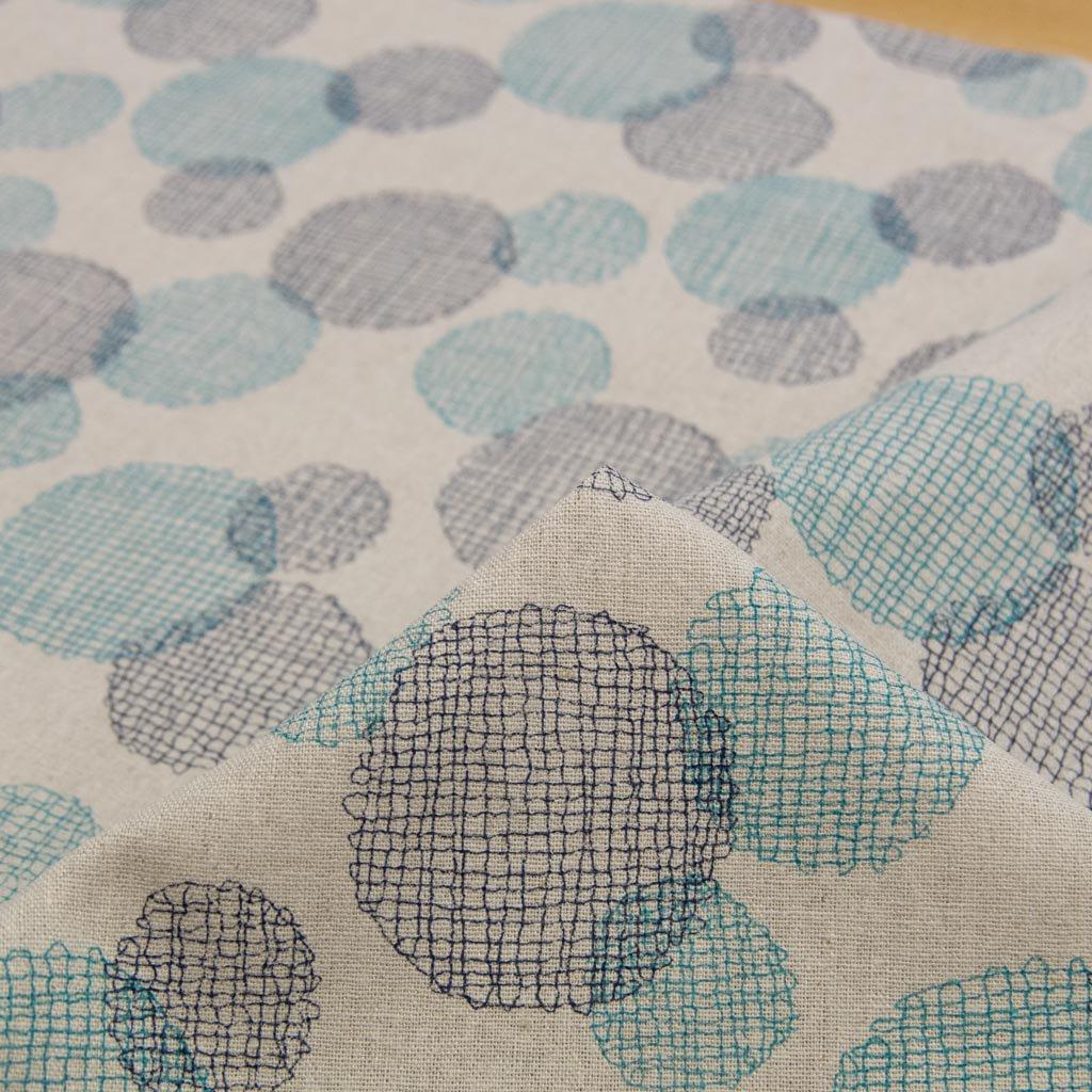 【cotton linen】dot lace print harf linen|ドット刺繍柄プリント|ハーフリネン|ライトキャンバス|ネイビーブルー|
