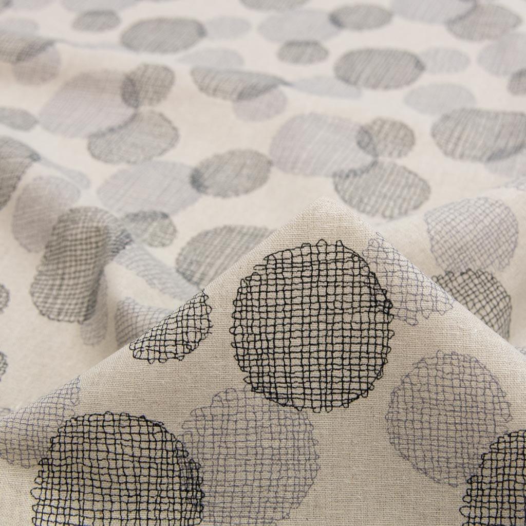 【cotton linen】dot lace print harf linen|ドット刺繍柄プリント|ハーフリネン|ライトキャンバス|ブラックグレー|