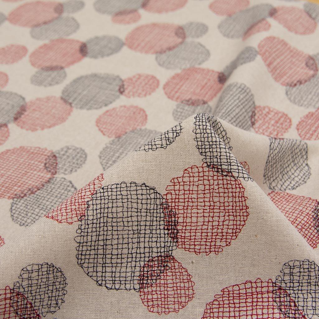【cotton linen】dot lace print harf linen|ドット刺繍柄プリント|ハーフリネン|ライトキャンバス|ダークレッド×ブラック|