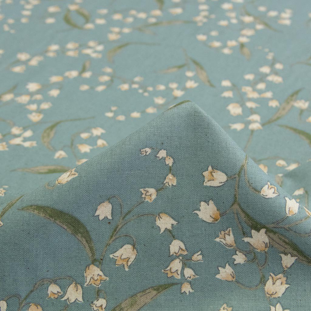 【cotton linen】classical suzuran|クラシカルスズラン|やわらかコットンリネンシーチング|ブルーグレー