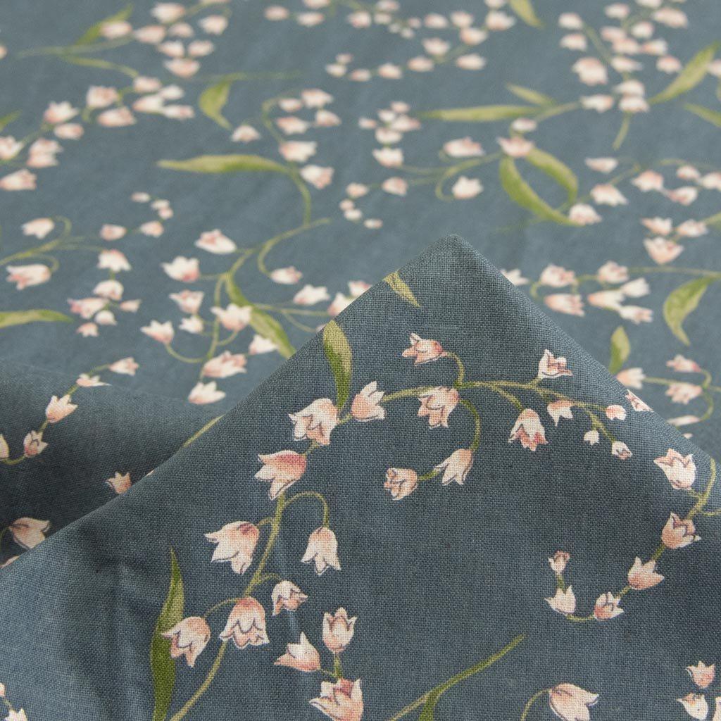 【cotton linen】classical suzuran|クラシカルスズラン|やわらかコットンリネンシーチング|グレー|