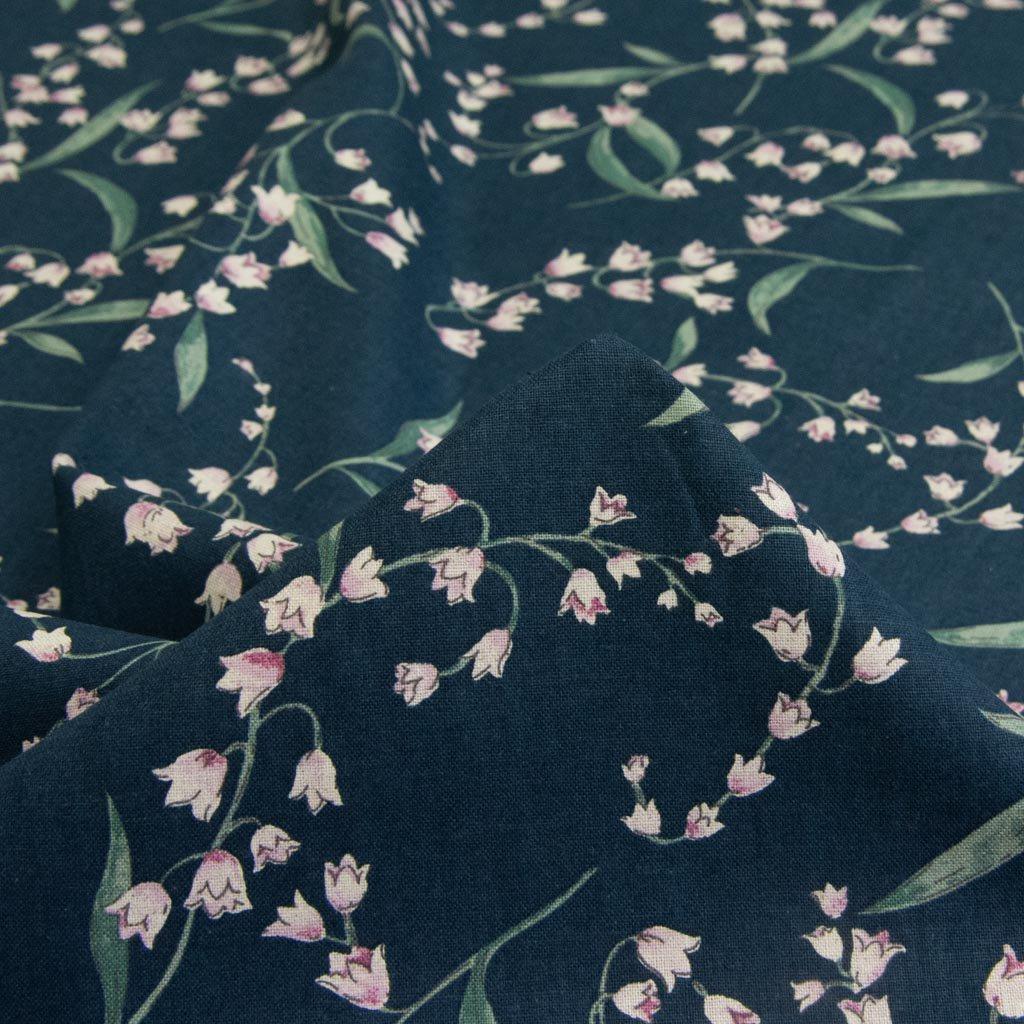 【cotton linen】classical suzuran|クラシカルスズラン|やわらかコットンリネンシーチング|ネイビー|