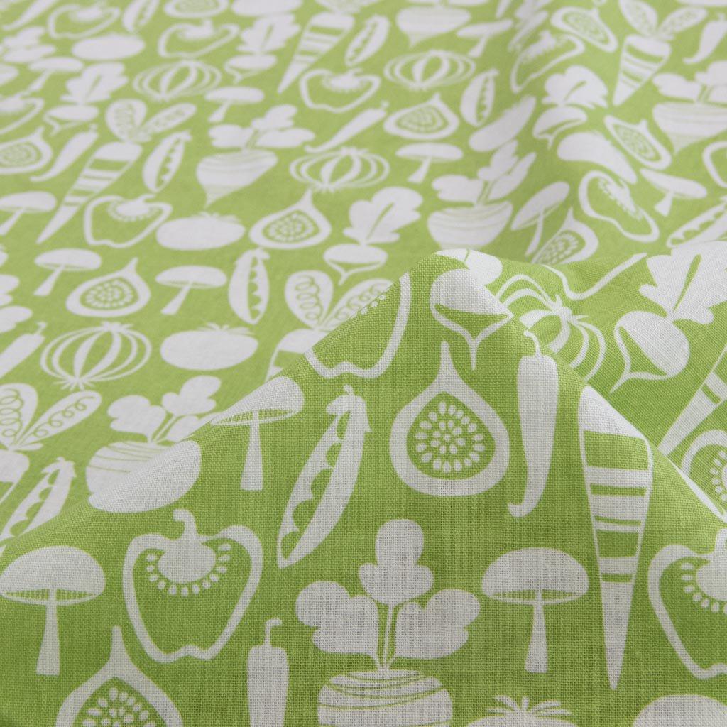 【cotton linen】vegetable design harf linen|北欧風デザイン|ベジタブル柄プリント|ハーフリネン生地|ライトキャンバス|ライトグリーン|