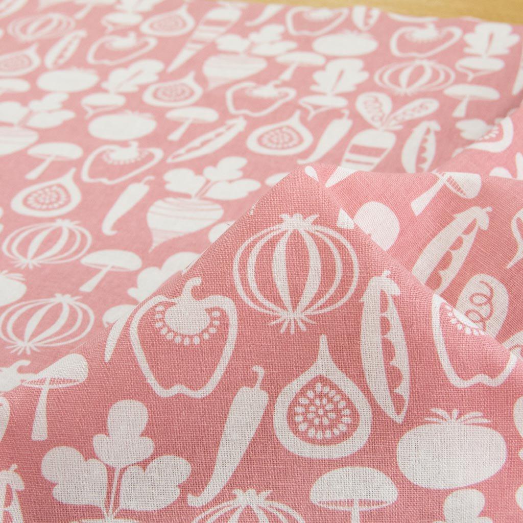 【cotton linen】vegetable design harf linen|北欧風デザイン|ベジタブル柄プリント|ハーフリネン生地|ライトキャンバス|ピンク|