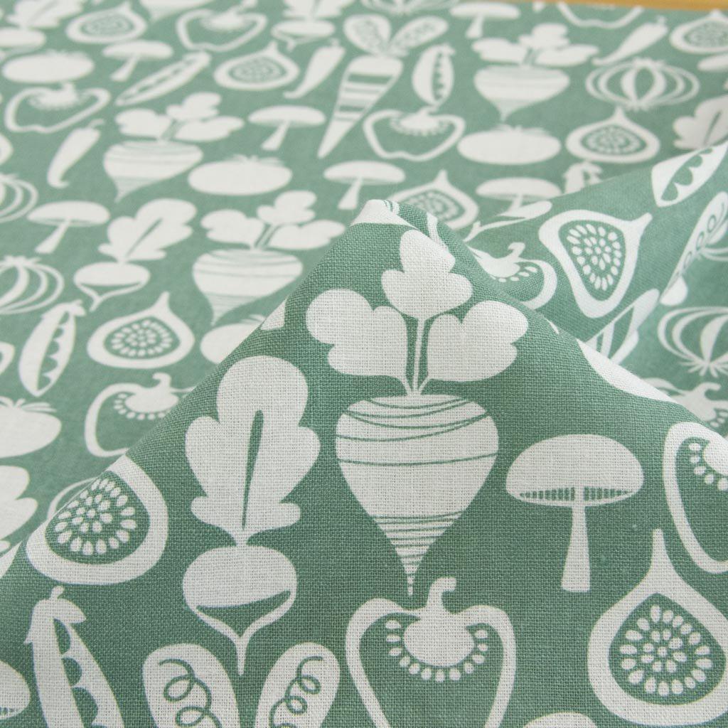 【cotton linen】vegetable design harf linen|北欧風デザイン|ベジタブル柄プリント|ハーフリネン生地|ライトキャンバス|グリーングレー|