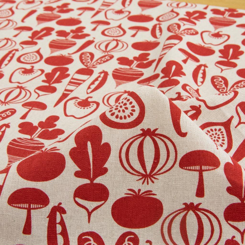 【cotton linen】vegetable design harf linen|北欧風デザイン|ベジタブル柄プリント|ハーフリネン生地|ライトキャンバス|ダルレッド|