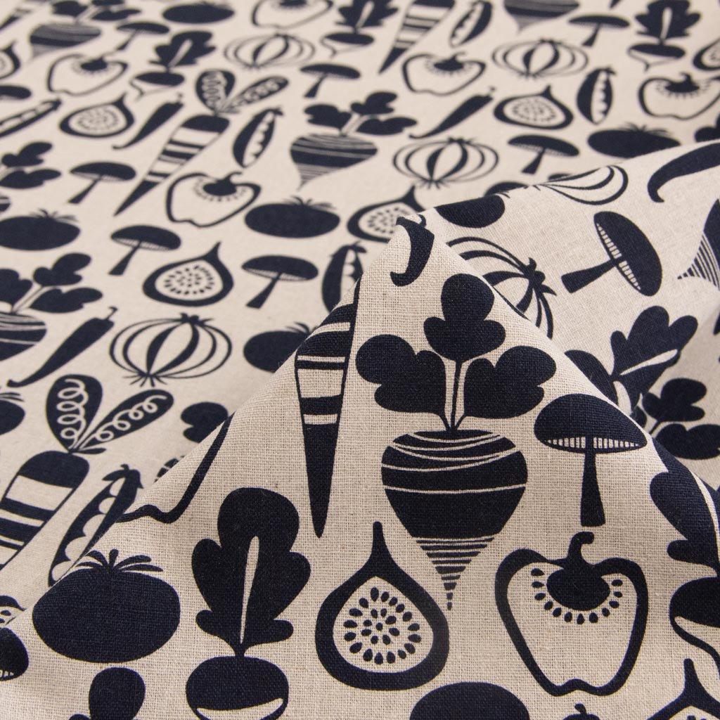 【cotton linen】vegetable design harf linen|北欧風デザイン|ベジタブル柄プリント|ハーフリネン生地|ライトキャンバス|ブラック|