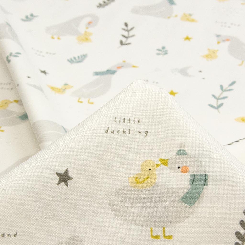 【USAコットン】little ducklings|ちいさなあひるたち|USAコットン|MODA|ホワイト|