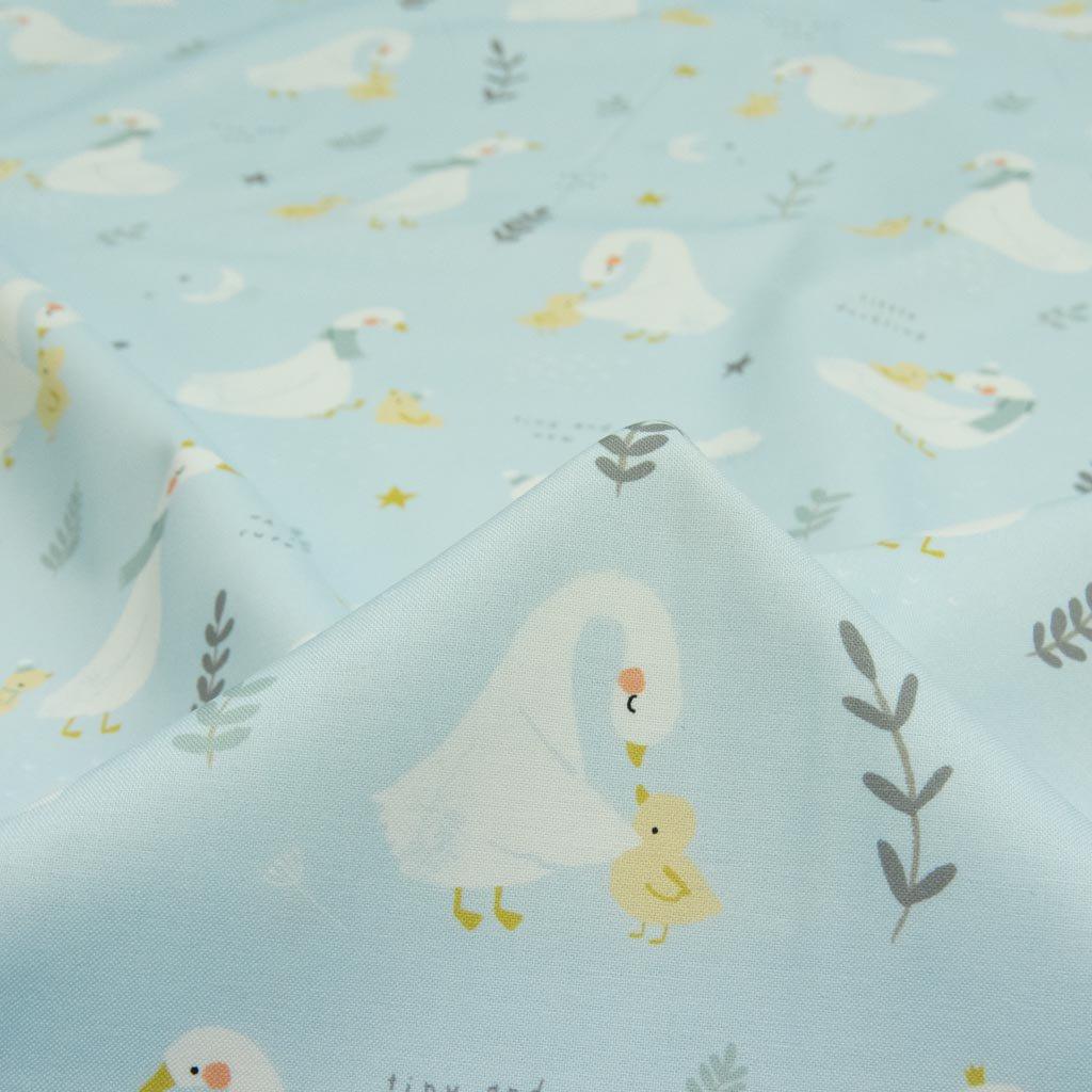 【USAコットン】little ducklings|ちいさなあひるたち|USAコットン|MODA|ライトブルー|