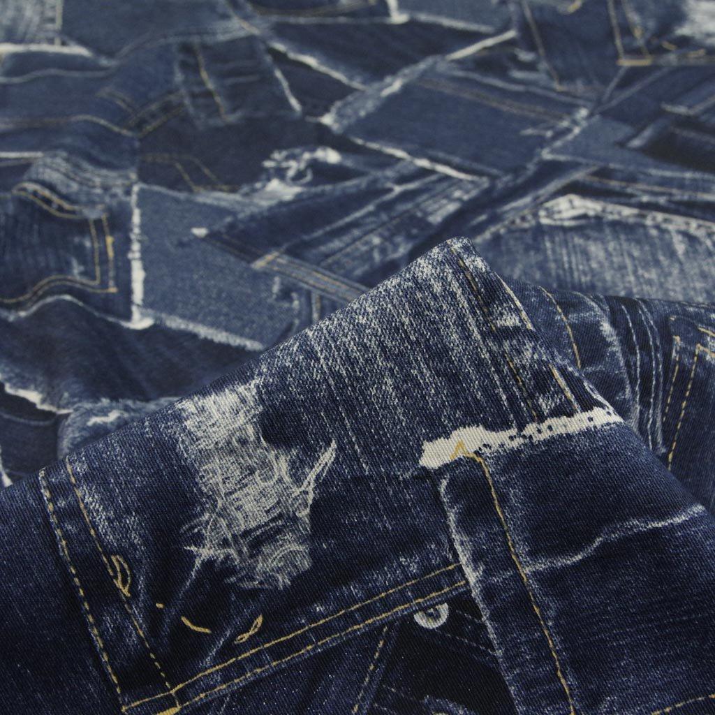 【cotton】denim patchwork print|デニムパッチワーク風プリント|コットンツイル|ネイビー|