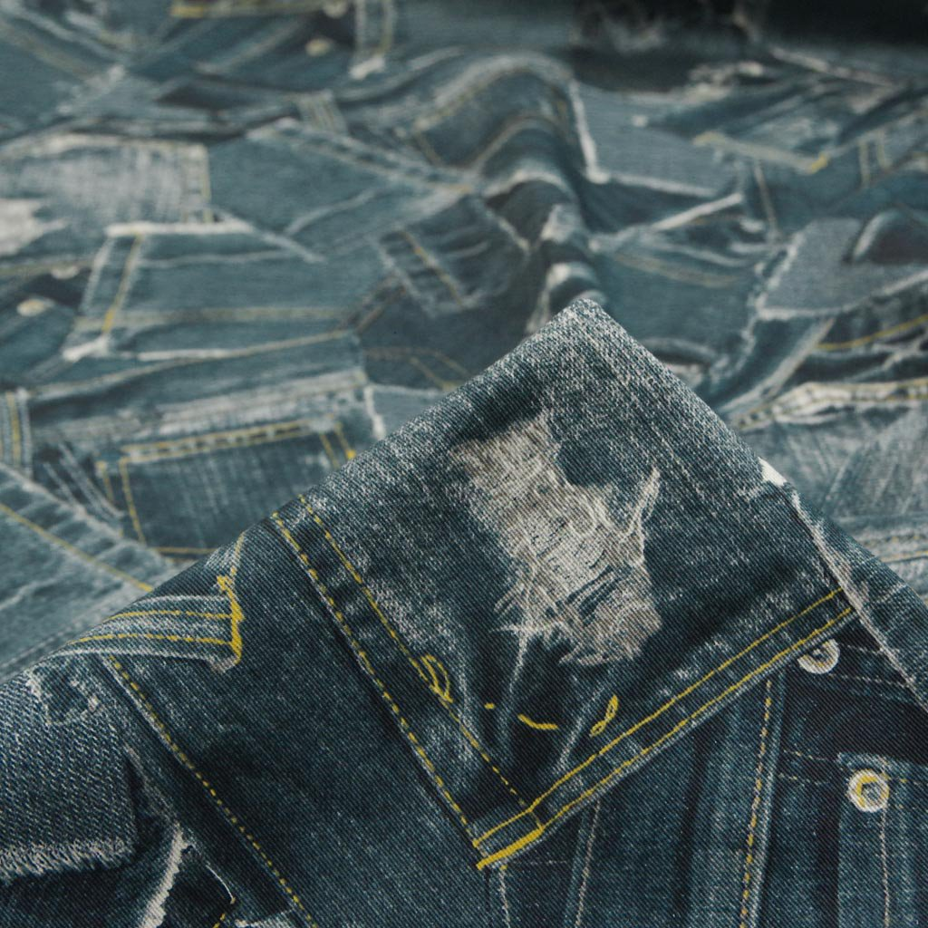 【cotton】denim patchwork print|デニムパッチワーク風プリント|コットンツイル|ヴィンテージネイビー|