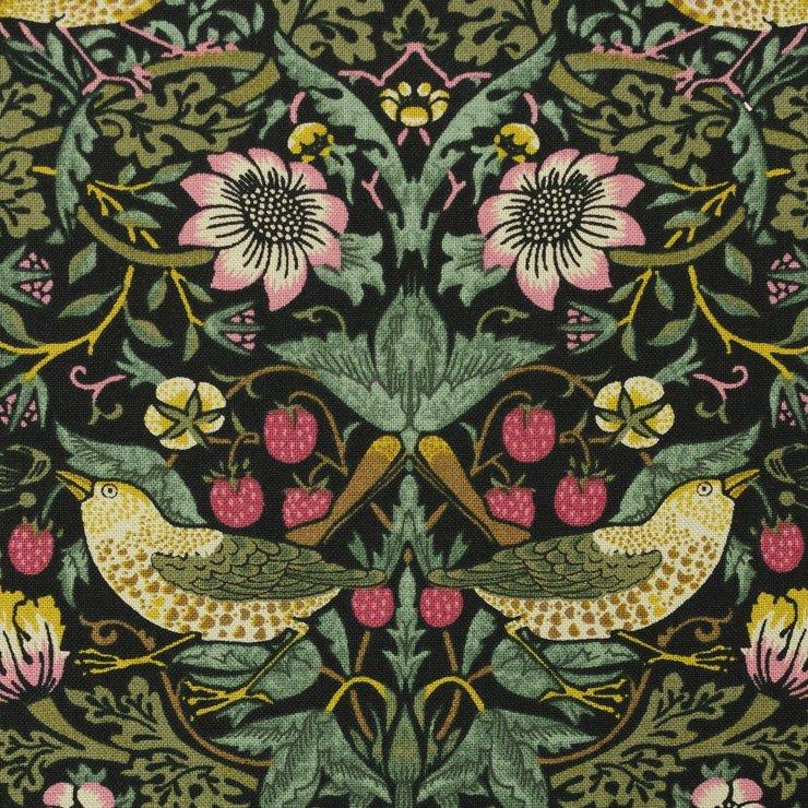 【cotton sheeting】William Morris   STRAWBERRY THIEF   MODA社 ウイリアムモリス イチゴ泥棒 ダマスクブラック 