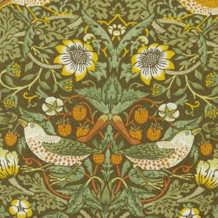 【cotton sheeting】William Morris   STRAWBERRY THIEF   MODA社 ウイリアムモリス イチゴ泥棒 ブラウンカーキ 
