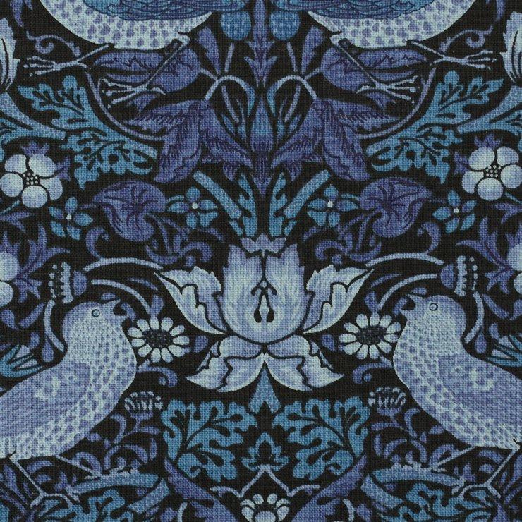 【cotton sheeting】William Morris   STRAWBERRY THIEF   MODA社 ウイリアムモリス イチゴ泥棒 インディゴ 