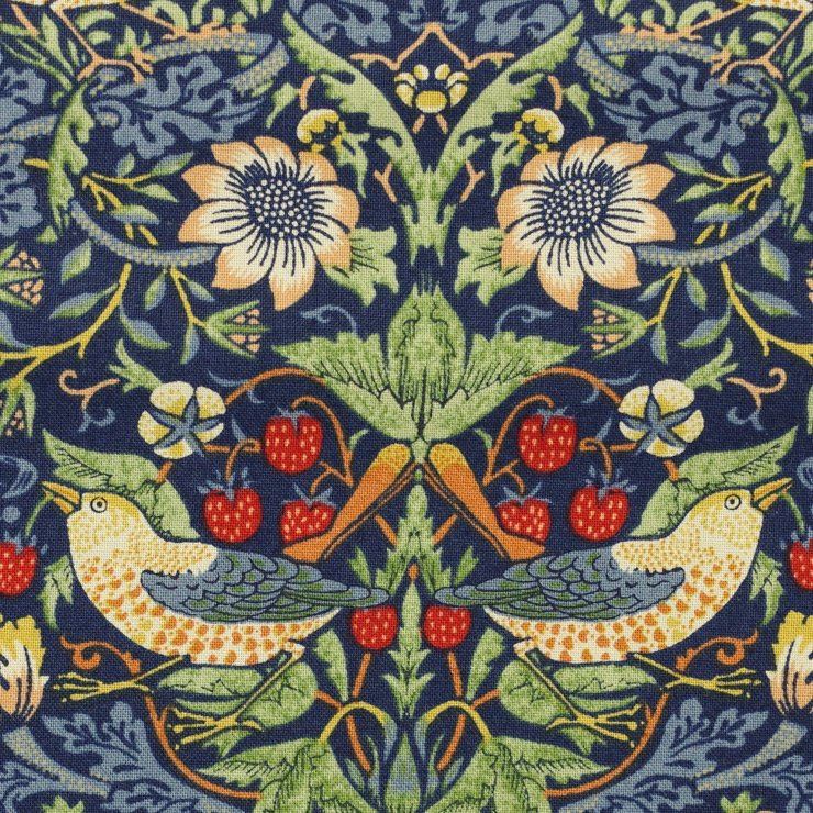 【cotton sheeting】William Morris   STRAWBERRY THIEF   MODA社 ウイリアムモリス イチゴ泥棒 マルチブルー 