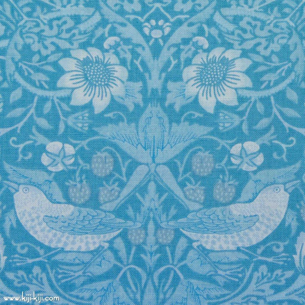 【cotton sheeting】William Morris   STRAWBERRY THIEF   MODA社 ウイリアムモリス イチゴ泥棒 パステルブルー 
