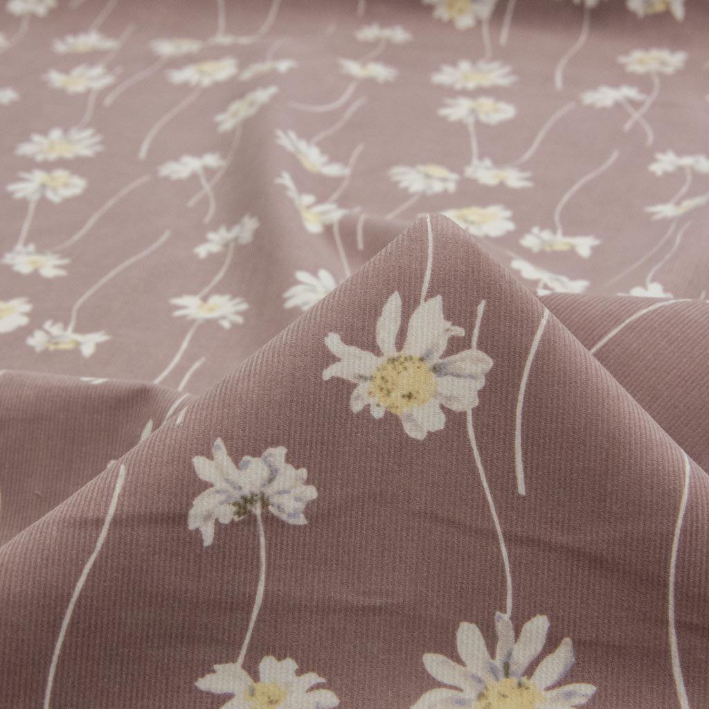 【コーデュロイ】nuance color flower corduroy|ニュアンスカラーフラワーコーデュロイ|コットンコーデュロイ|シャツコール|ピンクココア|