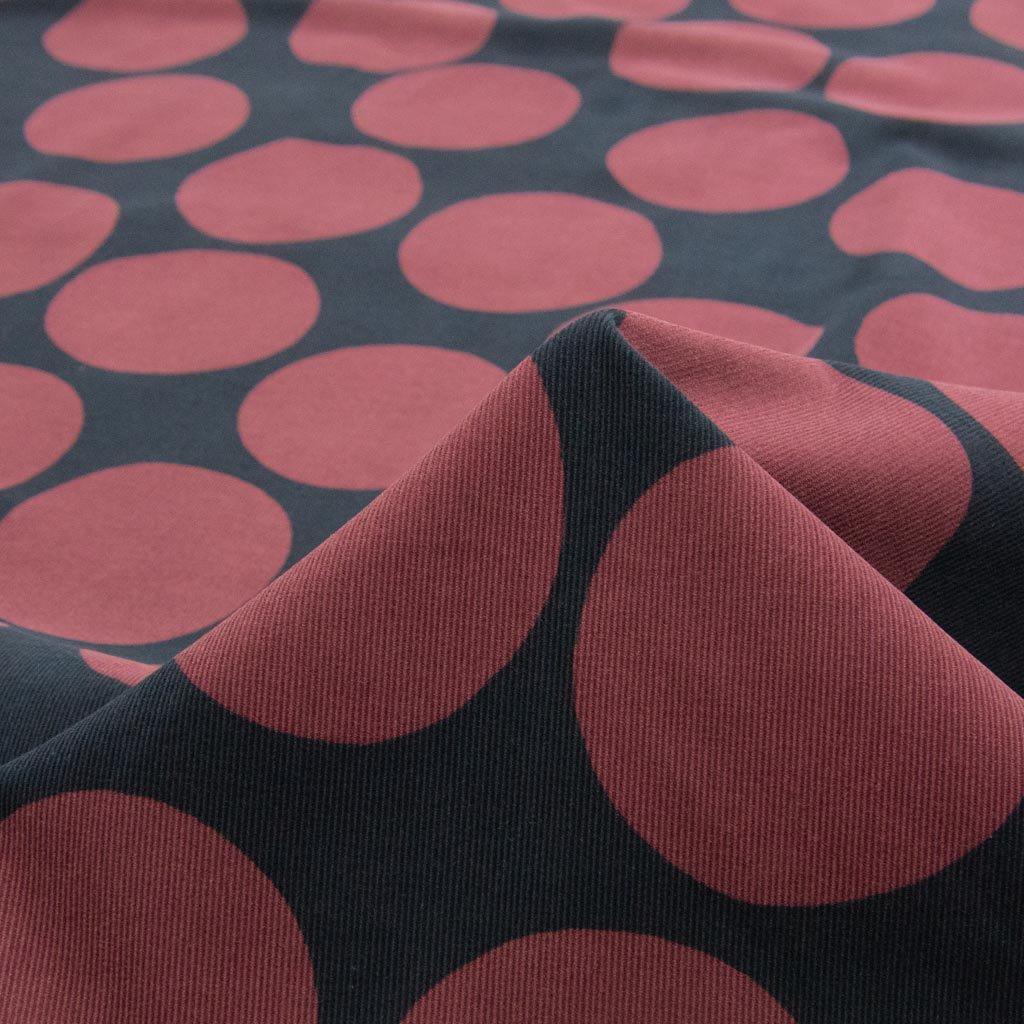 【コーデュロイ】polka dot pattern corduroy|ポルカドットパターンコーデュロイ|コットンコーデュロイ|シャツコール|ブラックネイビー×ボルドー|