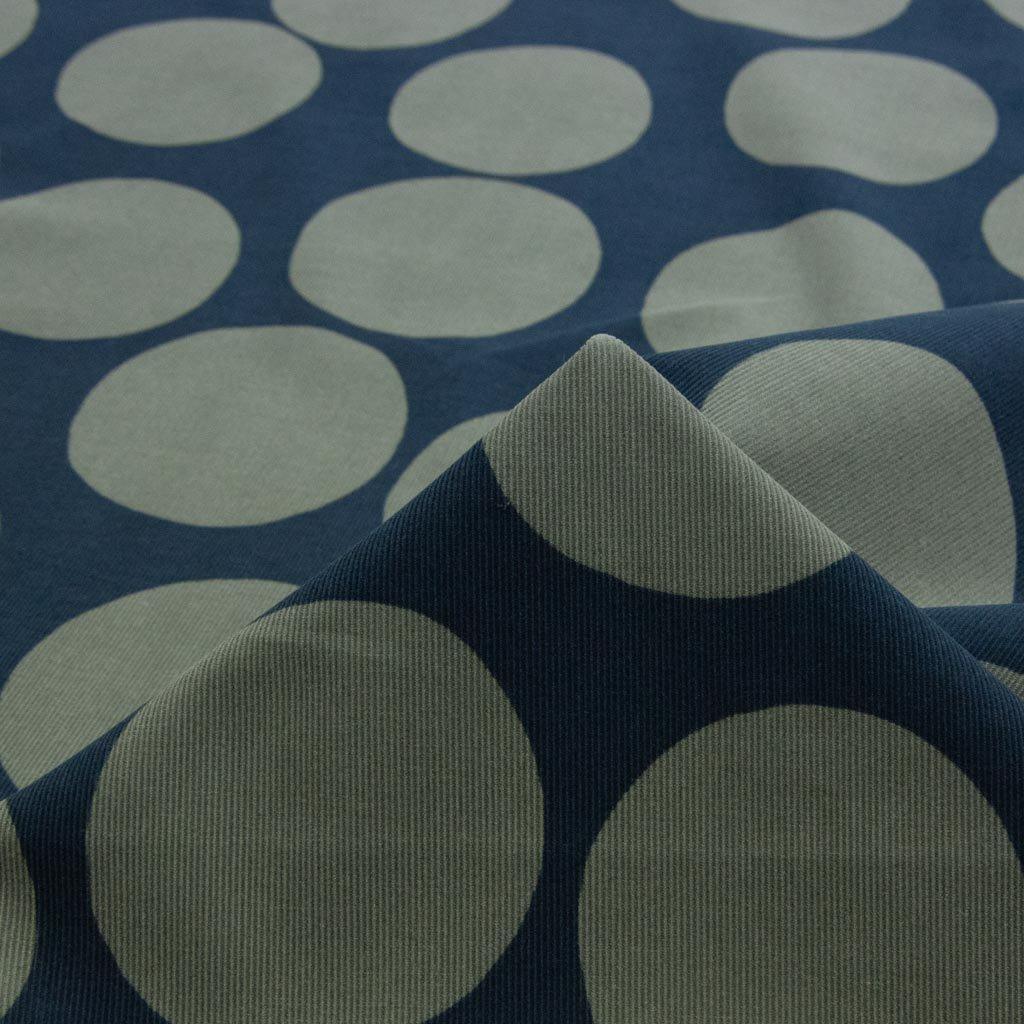 【コーデュロイ】polka dot pattern corduroy|ポルカドットパターンコーデュロイ|コットンコーデュロイ|シャツコール|ネイビー×グレー|