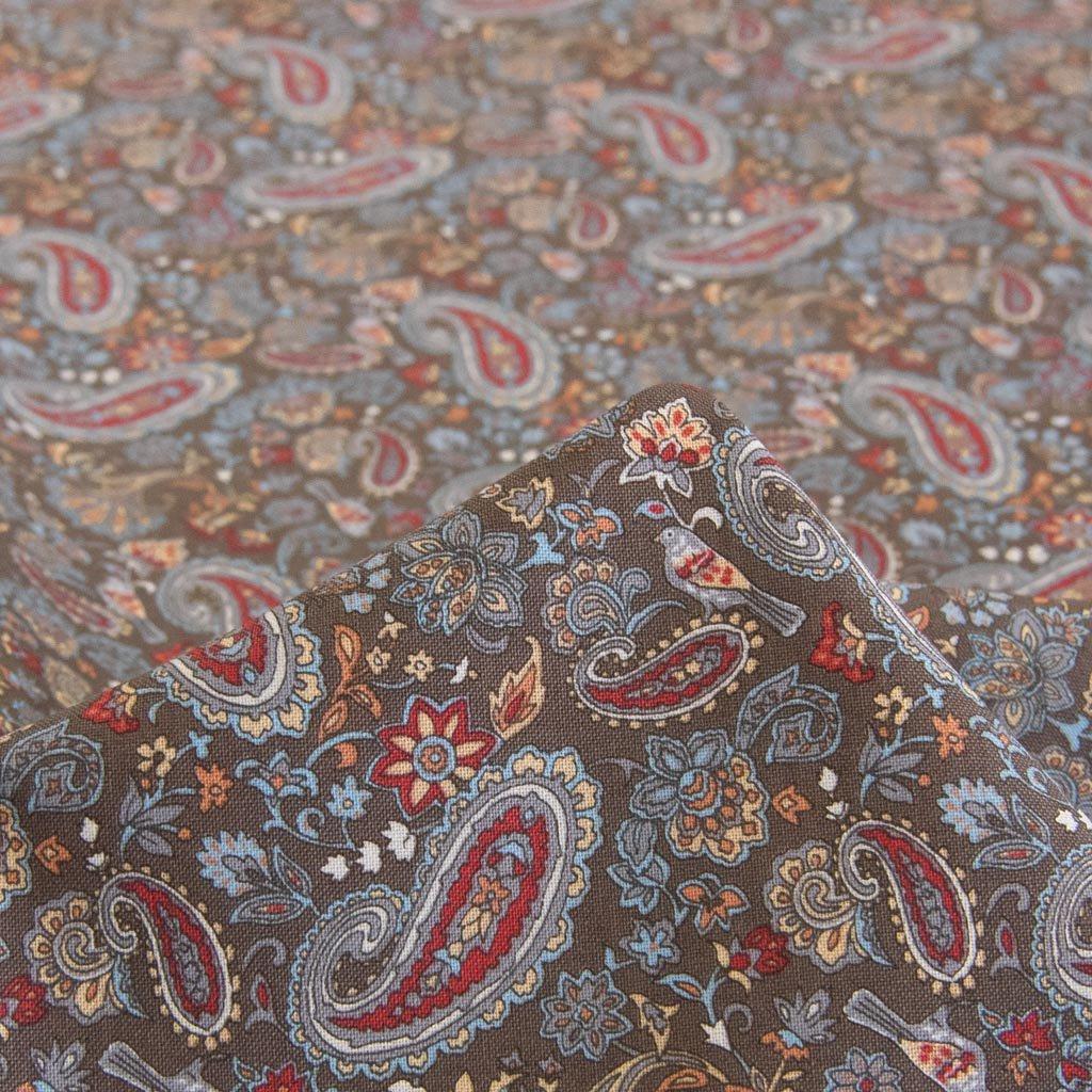 【cotton】Paisley pattern Sheeting Print |Squalane oil|ペイズリーデザインシーチング|スクワランオイルオイル加工|ブラウン|