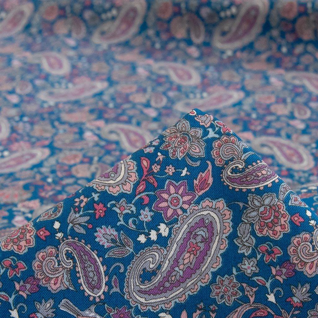 【cotton】Paisley pattern Sheeting Print |Squalane oil|ペイズリーデザインシーチング|スクワランオイルオイル加工|スモークブルー|