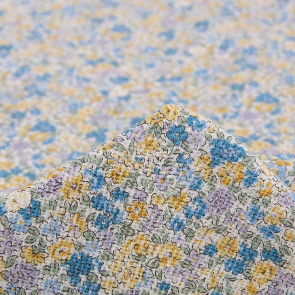 【cotton】Flower  pattern Sheeting Print |Squalane oil|フラワーデザインシーチング|スクワランオイルオイル加工|イエローブルー|