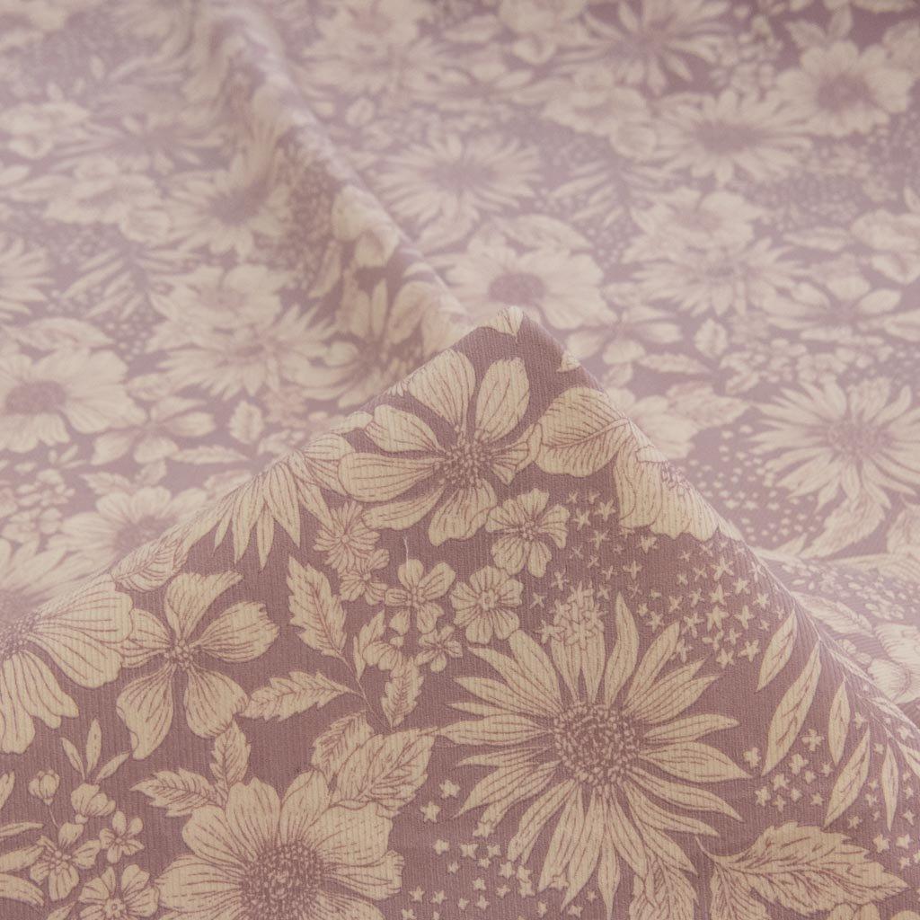 【コーデュロイ】classical flower corduroy|クラシカルフラワーコーデュロイ|コットンコーデュロイ|シャツコール|モーヴラベンダー|