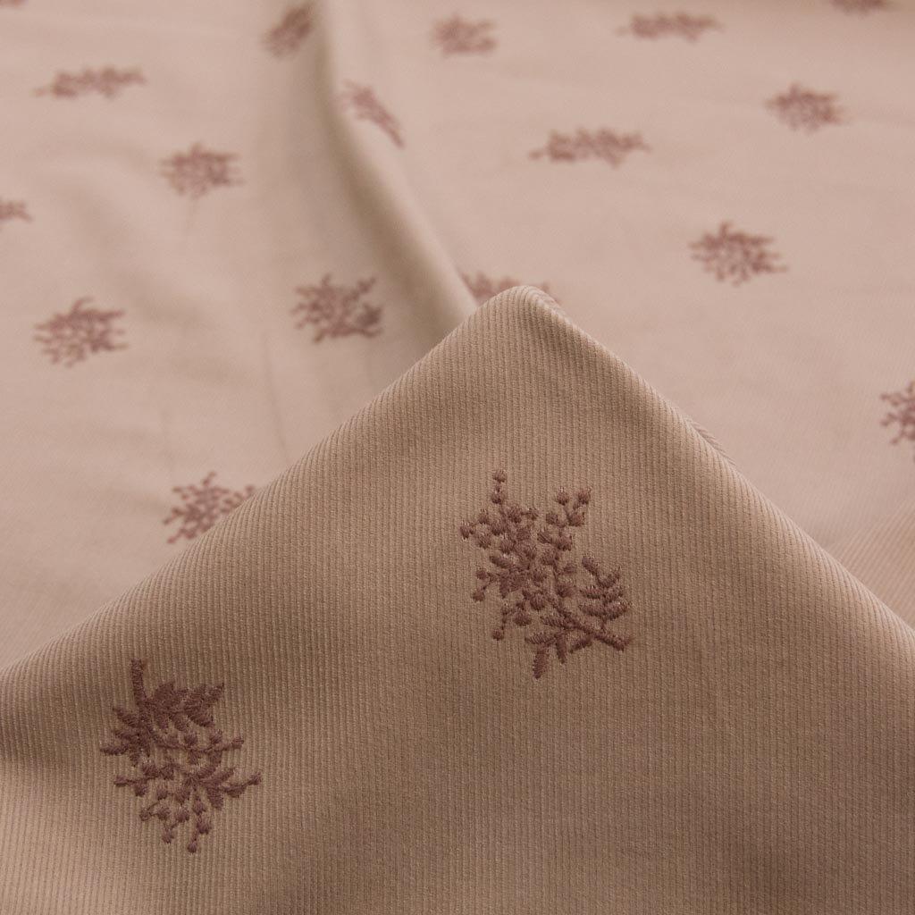 【コーデュロイ刺繍】mimosa lace corduroy|ミモザ刺繍コーデュロイ|日本製|シャツコール生地|モカ|