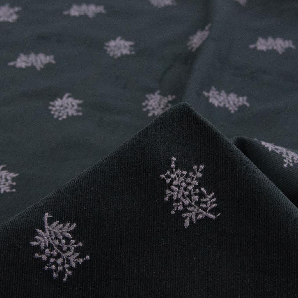 【コーデュロイ刺繍】mimosa lace corduroy|ミモザ刺繍コーデュロイ|日本製|シャツコール生地|ブラック|