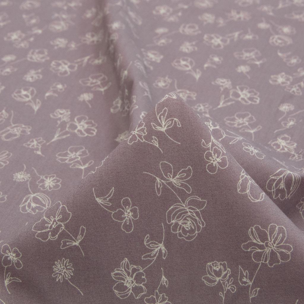 【cotton】ピーチ起毛のスモークカラーフラワープリント コットンシーチングピーチ起毛 グレーモーヴ 