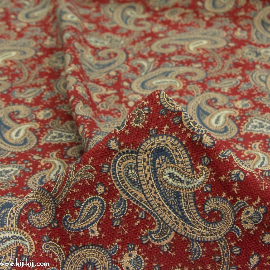 【USA cotton】 vintage paisley design fabric   ヴィンテージペイズリーデザインファブリック コットンシーチング ディープレッド <img class='new_mark_img2' src='https://img.shop-pro.jp/img/new/icons5.gif' style='border:none;display:inline;margin:0px;padding:0px;width:auto;' />