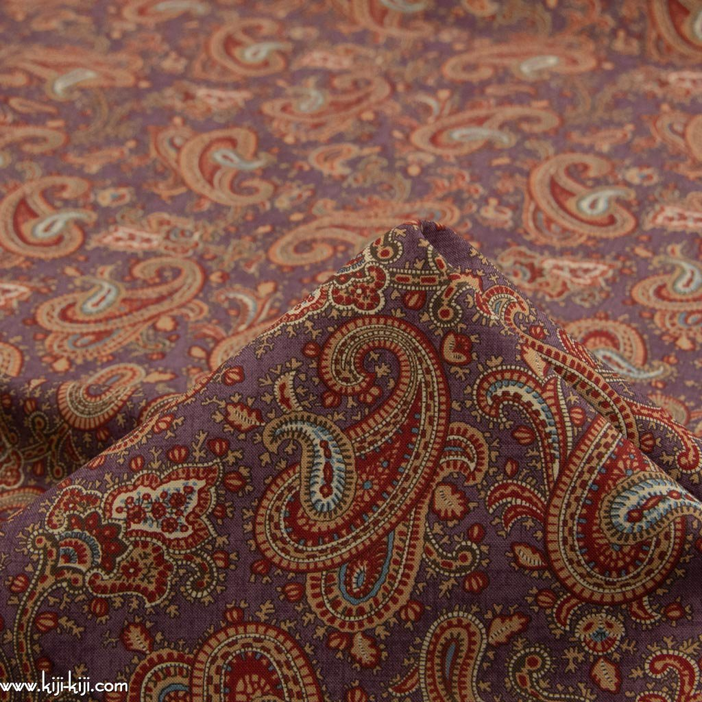 【USA cotton】 vintage paisley design fabric   ヴィンテージペイズリーデザインファブリック コットンシーチング スモークパープル <img class='new_mark_img2' src='https://img.shop-pro.jp/img/new/icons5.gif' style='border:none;display:inline;margin:0px;padding:0px;width:auto;' />