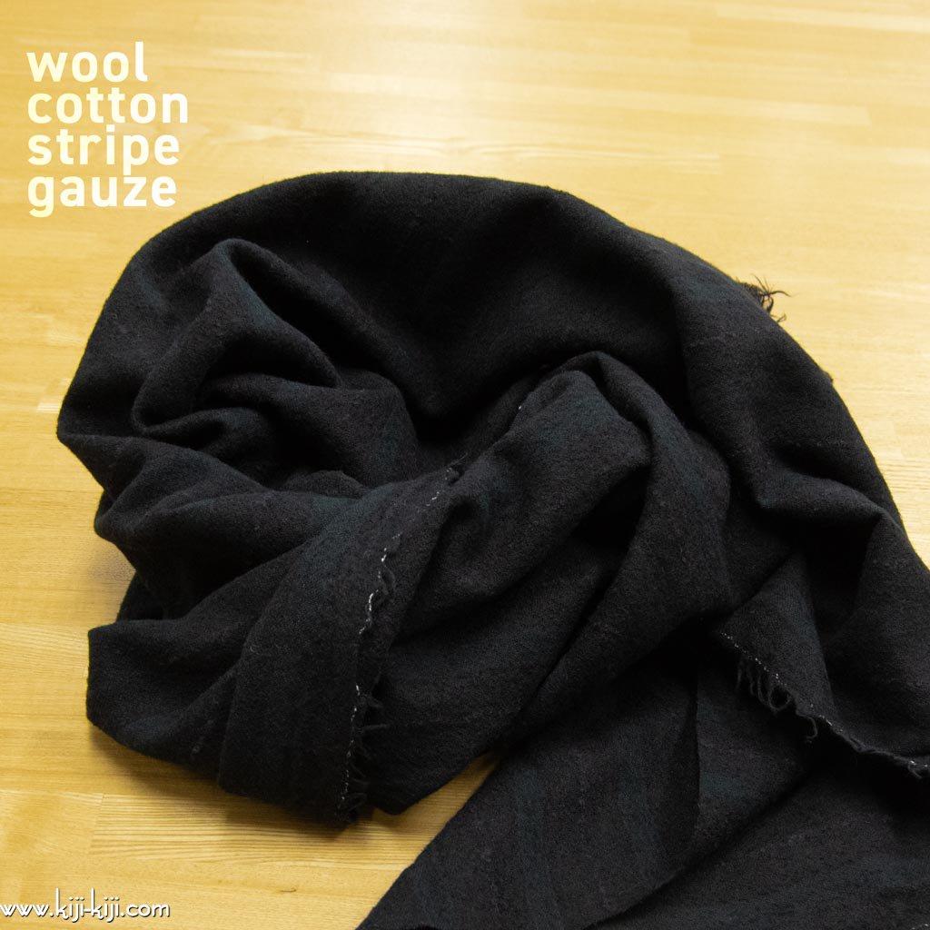 【sale】【コットンウール】cotton wool stripe gauze コットンウールガーゼ ストライプドビー 日本製 ブラック <img class='new_mark_img2' src='https://img.shop-pro.jp/img/new/icons20.gif' style='border:none;display:inline;margin:0px;padding:0px;width:auto;' />